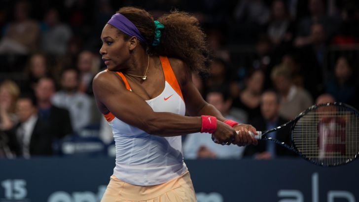 Serena Williams durante una partita di tennis