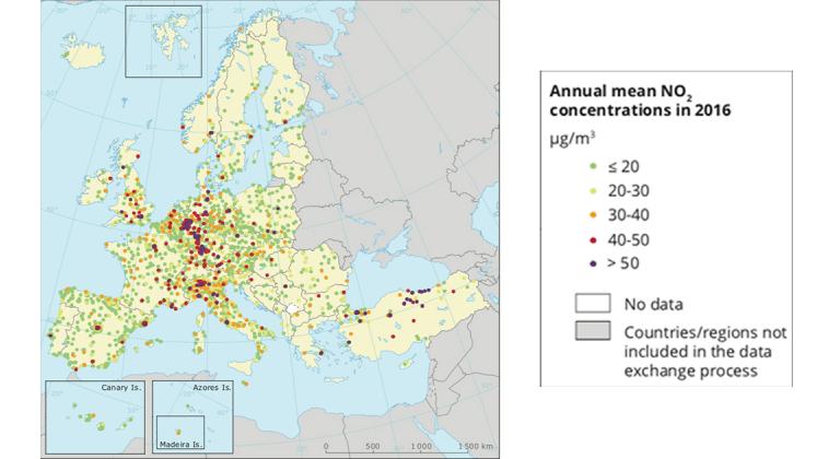 biossido di azoto europa inquinamento atmosferico